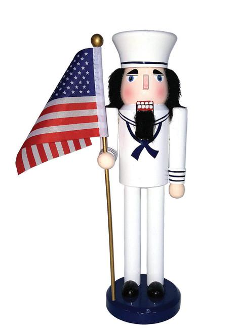 "Santa's Workshop 14"" Navy Nutcracker With Flag"