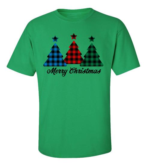 Merry Christmas Buffalo Plaid Trees Short Sleeve T-shirt