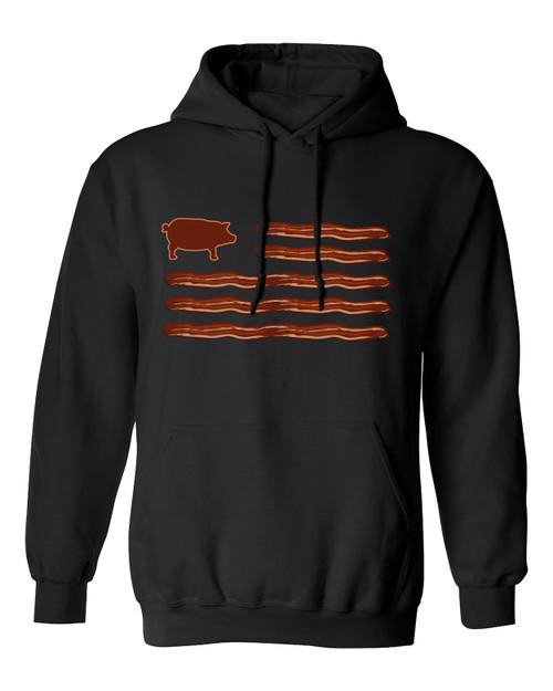 Funny Men's Bacon American Flag Hooded Sweatshirt