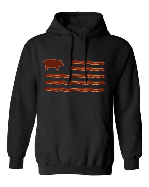 Funny Men's Bacon American Flag Hooded Sweatshirt