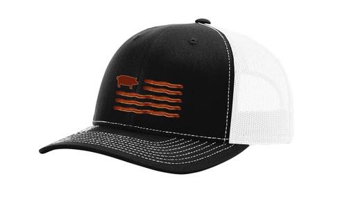 Funny Men's Bacon American Flag Trucker Hat