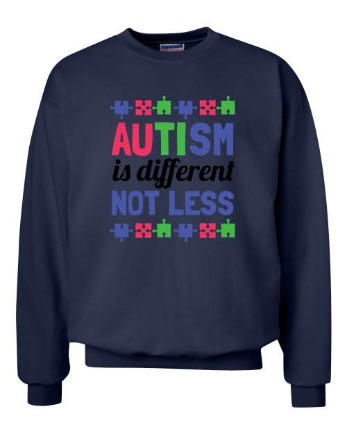 Adult Unisex Autism Awareness Different Not Less Crew Neck Sweatshirt