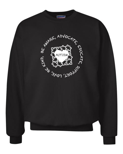 Adult Unisex Autism Awareness Puzzle Be Aware Educate Crew Neck Sweatshirt