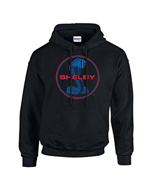 Ford Mustang Shelby Cobra Hooded Sweatshirt Blue and Red Hoodie Hood Racing Performance Tough Muscle Car   Design Black