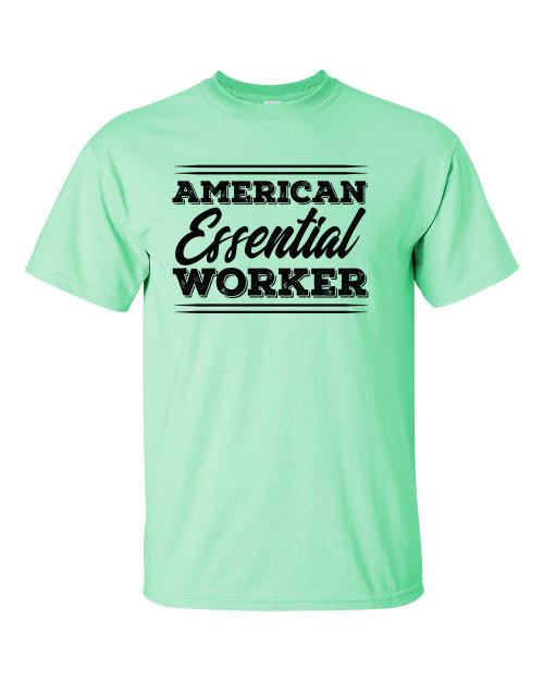 Patriotic American Essential Worker Script Short Sleeve T-shirt