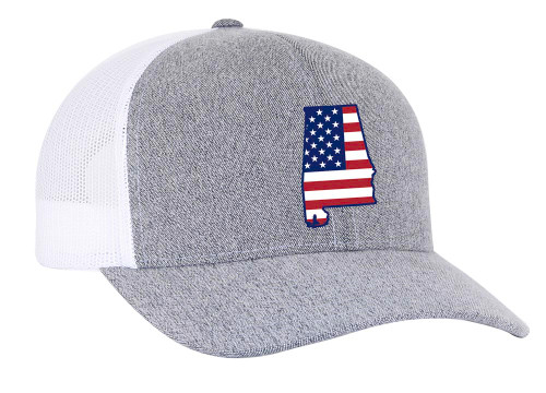Heritage Pride Grey Heather and White American Flag Embroidered State Pride Hats Alabama