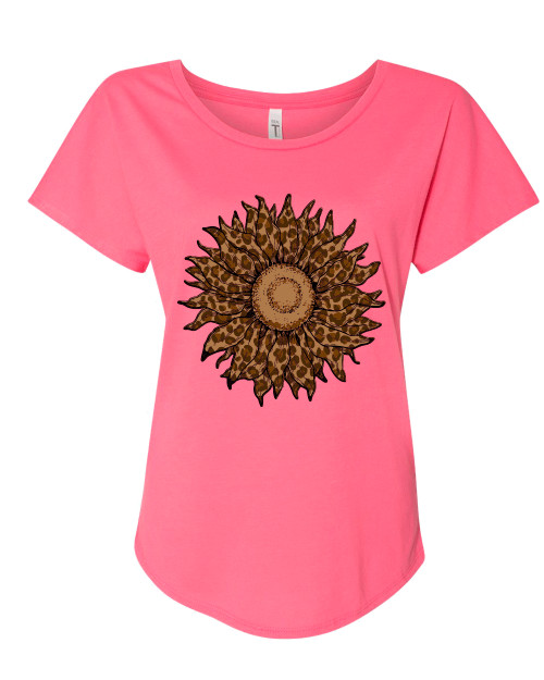 Ladies Cheetah Sunflower Dolman Short Sleeve Shirt