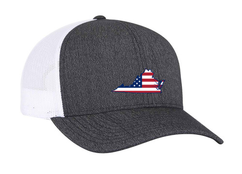 Heritage Pride Black Heather and White American Flag Embroidered State Pride Hats