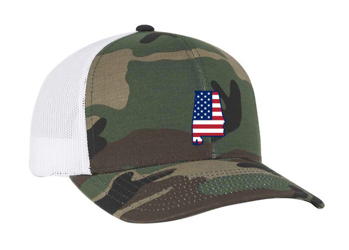 Heritage Pride Camo and White American Flag Embroidered State Pride Hats Alabama