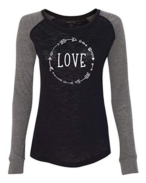 Love Arrow Black Valentine's Day Women's Patch Raglan Long Sleeve Tee Shirt Black/Granite