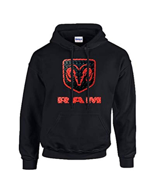 Dodge RAM Red and Black Logo Adult Hooded Sweatshirt Black