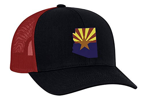 Heritage Pride Arizona State Flag Embroidered Trucker Mesh Snapback Hat Navy Red Mesh