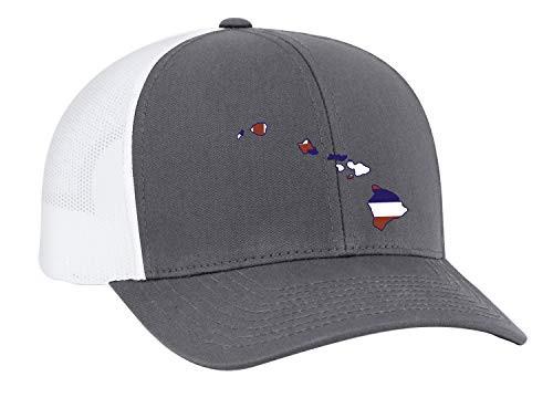 Heritage Pride Hawaii State Flag Embroidered Trucker Mesh Snapback Hat Graphite White Mesh