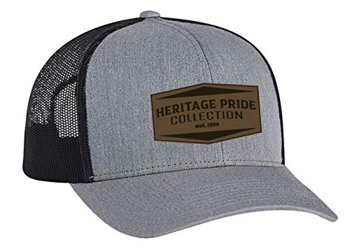 Heritage Pride EST. 1998 Leather Patch Trucker Snapback Hat Hether Gray Light Charcoal Mesh