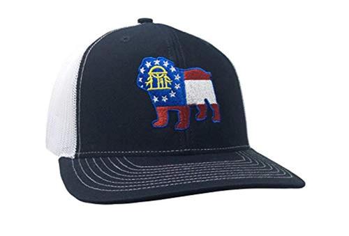 Heritage Pride Georgia Flag Bulldog Embroidered Trucker Mesh Snapback Hat Navy White Mesh