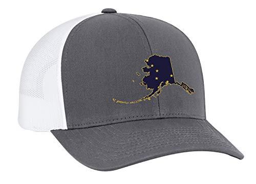 Heritage Pride Alaska State Flag Embroidered Trucker Mesh Snapback Hat Granite White Mesh