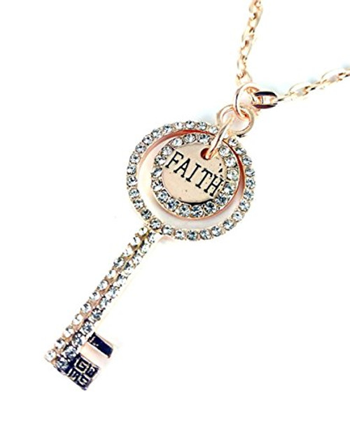 Good Works Jewelry Engraved Ruby Key Necklace Gold
