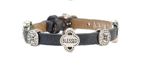 Good Works Fortune Single Starjestic Bracelet Strength Blessed Fearless Black