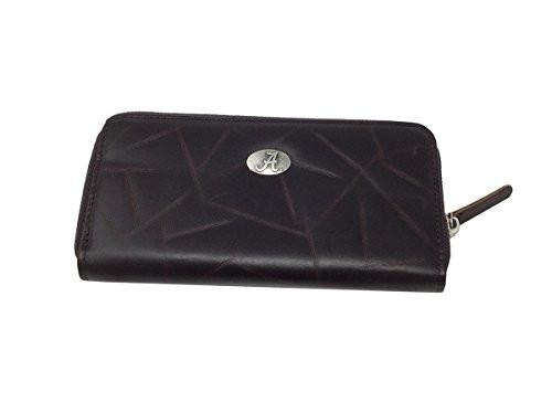 "NCAA University of Alabama Brown Wrinkle Zipper Long Wallet 8"" X"