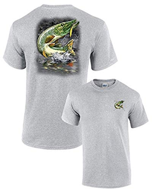 Adult Fishing Tee Shirt Jumping Pike Sportsgray