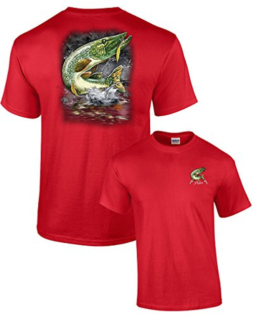 Adult Fishing Tee Shirt Jumping Pike Red