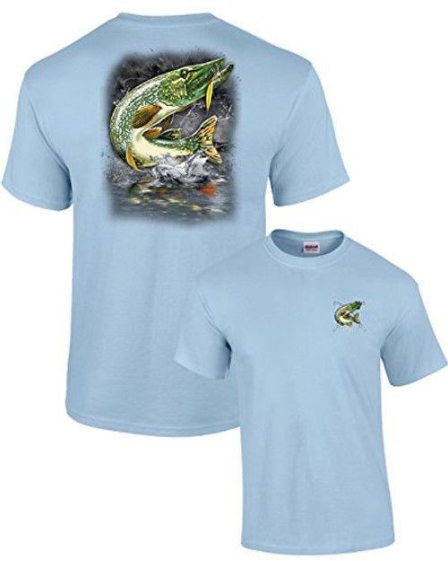 Adult Fishing Tee Shirt Jumping Pike lightblue 6
