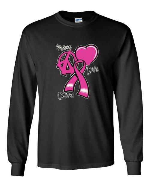 Breast Cancer Awareness T-shirt Peace, Love, Cure Pink Ribbon Long Sleeve Unisex Shirt