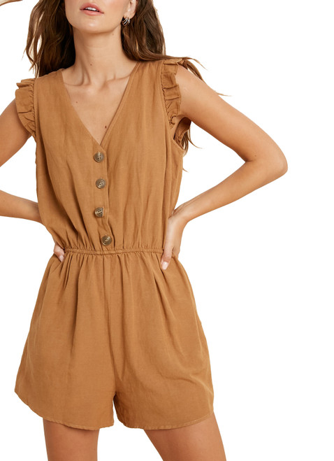Wishlist Women's Ruffle Sleeve Button Down Romper