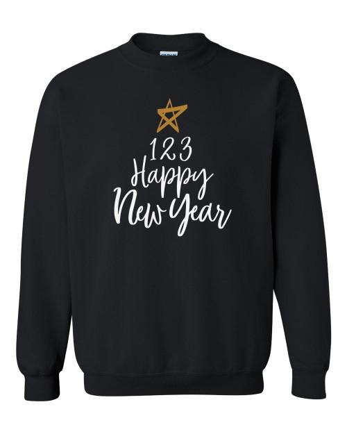 1 2 3 Happy New Year Celebration Unisex Adult Crewneck Sweatshirt
