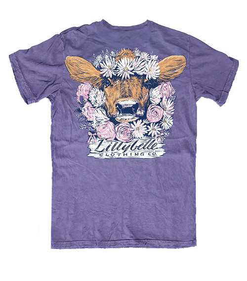 Lillybelle Clothing Women's Flower Cow Comfort Colors Short Sleeve T-Shirt