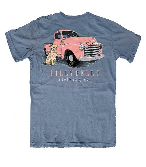 Lillybelle Clothing Women's Dog Truck Comfort Colors Short Sleeve T-Shirt