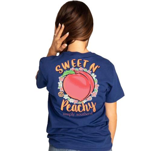 Simply Southern Women's Sweet N' Peachy Peach Flower Short Sleeve T-shirt, Navy Blue