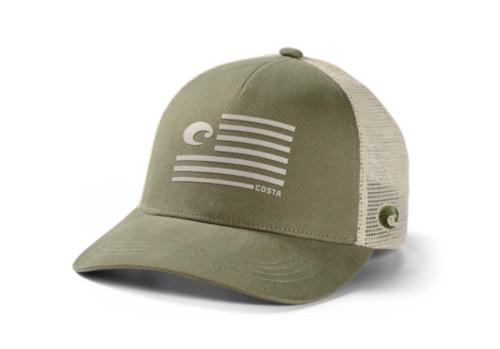 Costa Del Mar Pride Rubber American Flag C Logo Mesh Back Trucker Hat, Moss Green