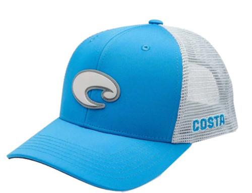 Costa Del Mar Rubber Logo Patch Mesh Back Trucker Hat, Blue