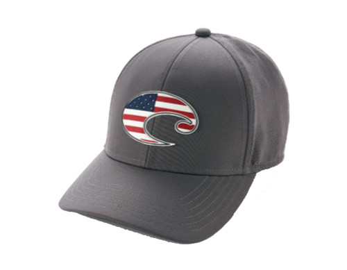 Costa Del Mar All Weather USA American Flag C Logo Rubber Patch Moisture Wicking Hat, Gray