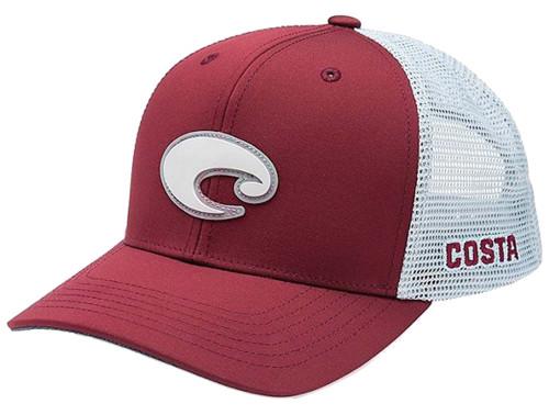 Costa Del Mar Rubber Logo Patch Mesh Back Trucker Hat, Maroon