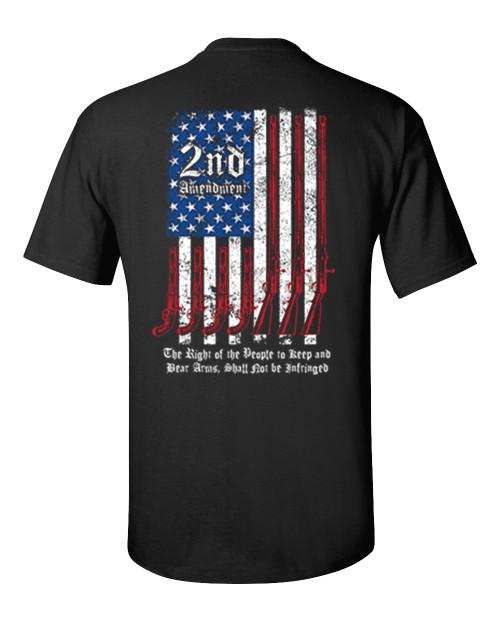 Second Amendment Script American Firearm Flag Adult Unisex Short Sleeve T-shirt