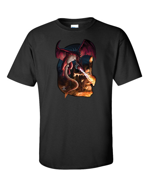 Trenz Shirt Company Dragon Incineration Castle Adult Unisex Short Sleeve T-shirt