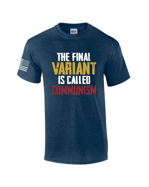 The Final Variant is Communism American Flag Sleeve Men's Short Sleeve T-shirt Graphic Tee
