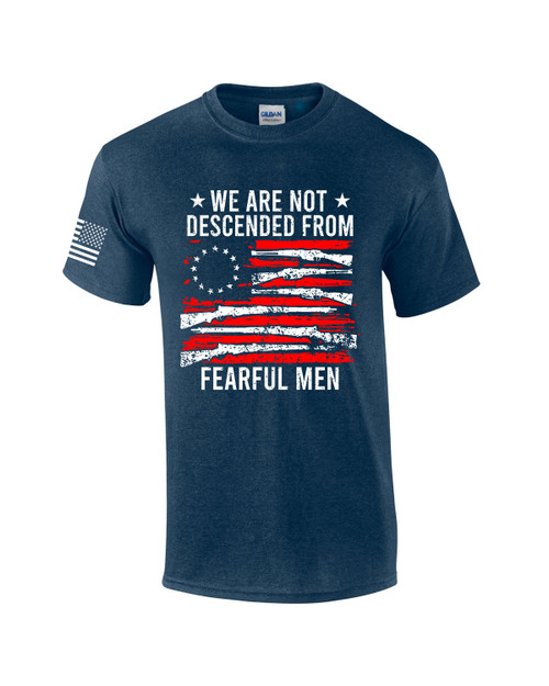 We Are Not Descended From Fearful Men American Flag Men's Short Sleeve T-shirt Graphic Tee