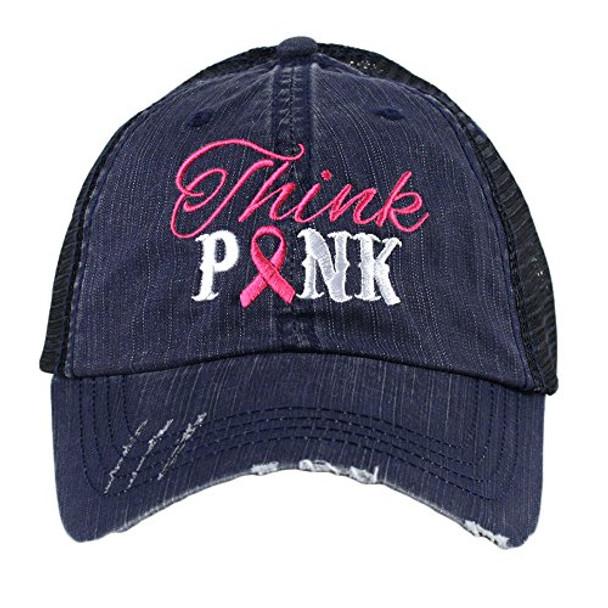 d16f0ff8cdf32 Katydid Think Pink Breast Cancer Ribbon Trucker Hat - Trenz Shirt ...