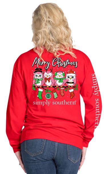 Simply Southern Owl Christmas Long Sleeve T-shirt