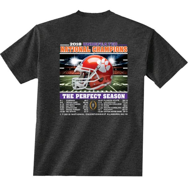 NCAA Clemson Tigers 2018 National Champions Recap Short Sleeve T-shirt