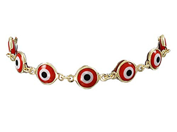 Jewelry by TSC Epoxy Evil Eye Link Clasp Bracelet, Red and Gold