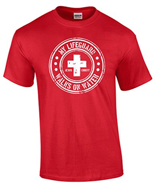 aec6f12e01f My Lifeguard Walks On Water Circle Design Christian Tee - Trenz ...