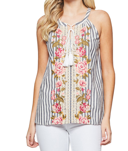 Andree By Unit Womens Embroidered Striped Tie Front Tank Top