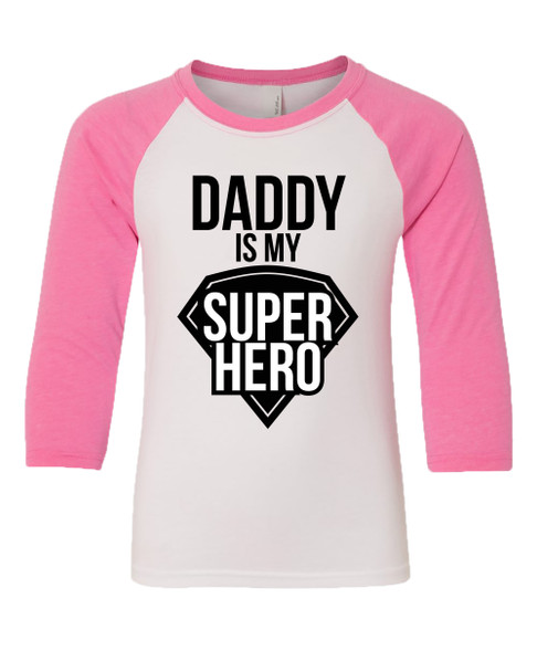 Father's Day Daddy Is My Superhero Youth Baseball Tee