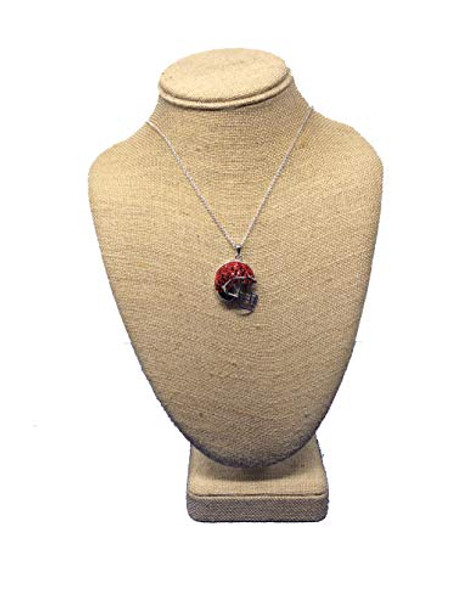 Chelsea Taylor Red & Black Brass Preciosa Helmet Pendant Necklace
