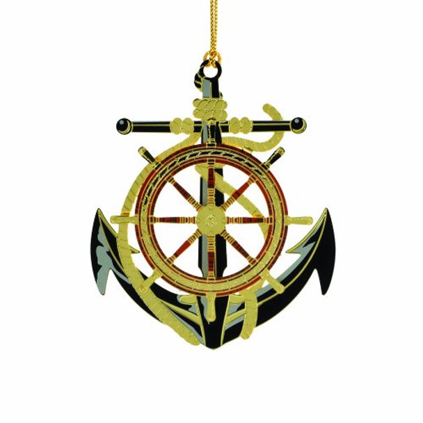 Beacon Design Anchor and Wheel Handcrafted Ornament