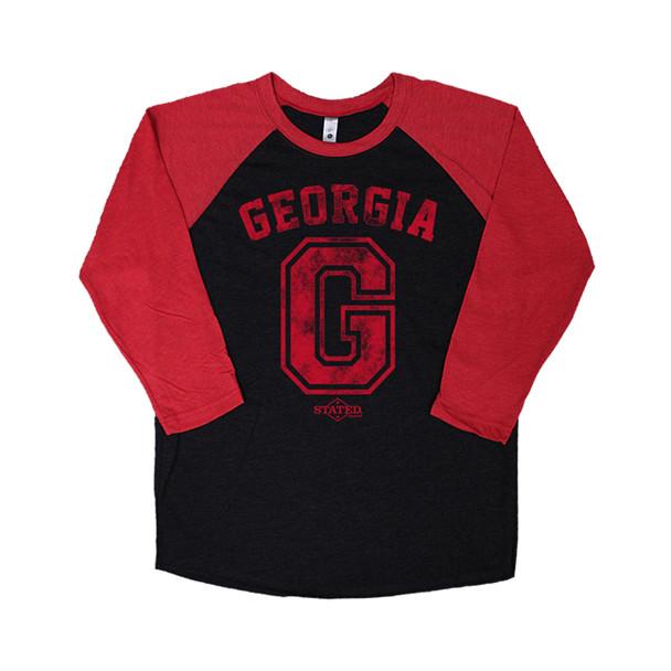 Stated Apparel Georgia Block G Distressed Baseball T-Shirt